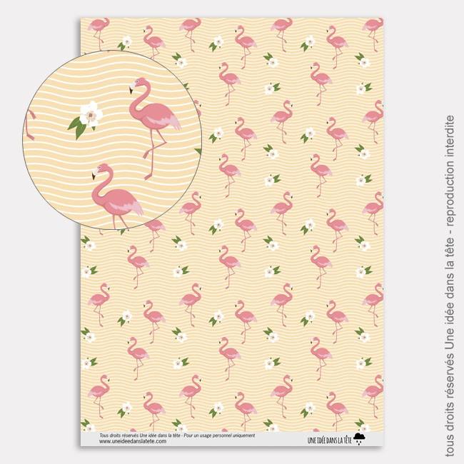 papier scrapbooking flamant rose
