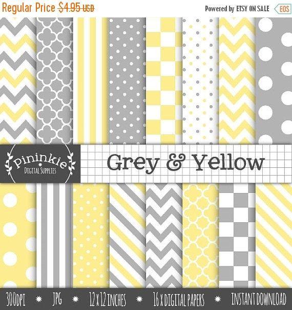 papier scrapbooking jaune et gris
