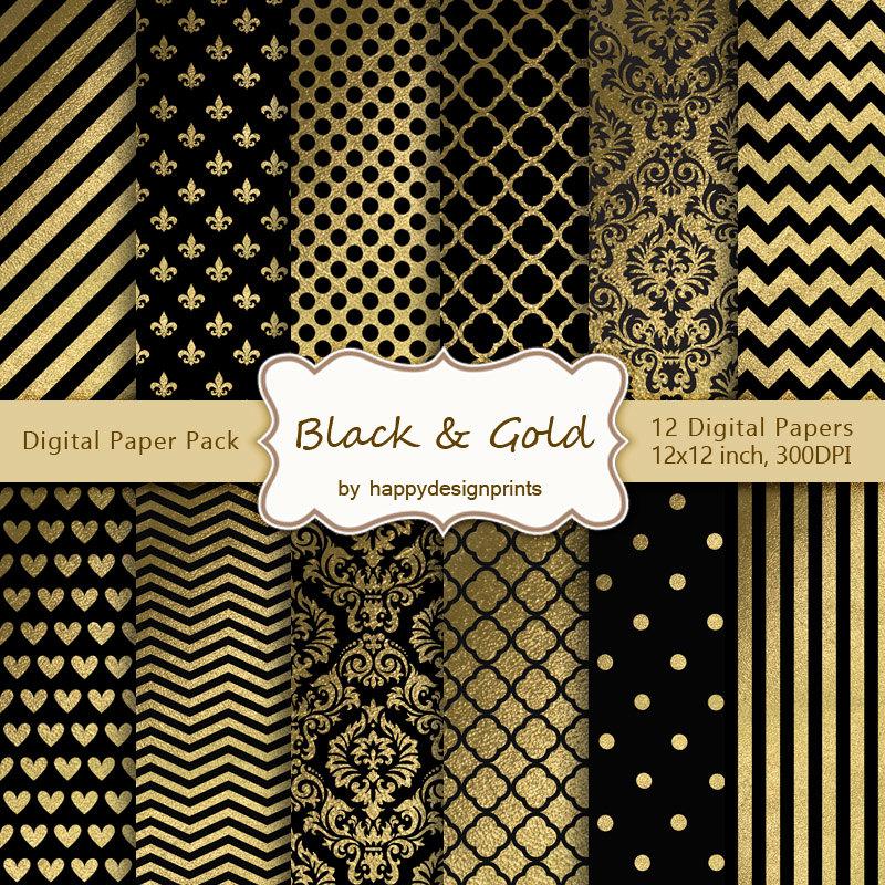 papier scrapbooking noir et or
