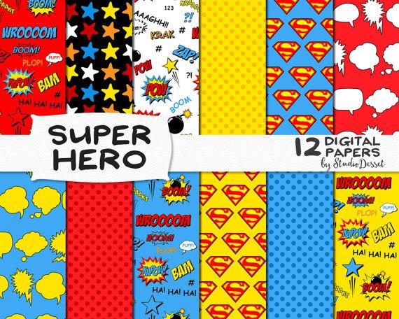 papier scrapbooking super heros