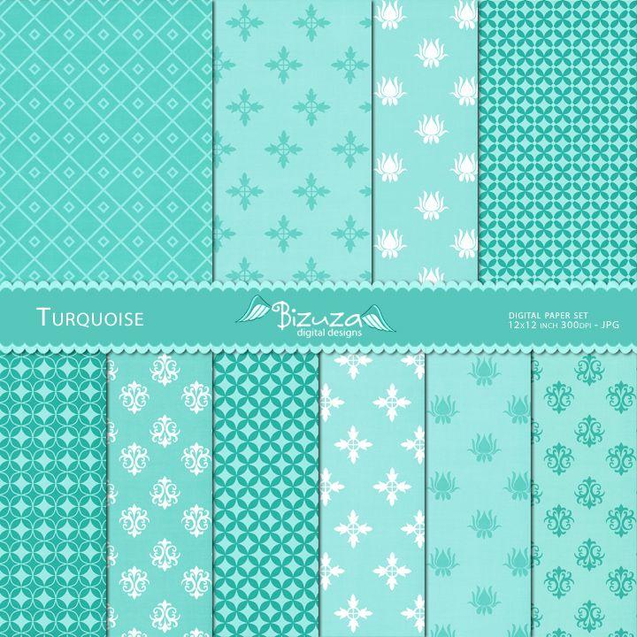 papier scrapbooking turquoise