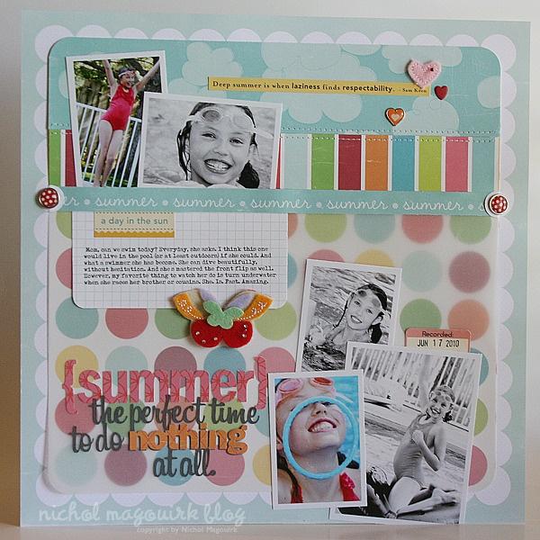 scrapbooking 5 photo layout