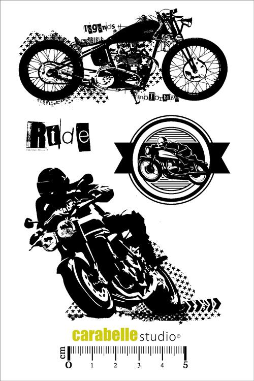 tampon scrapbooking moto