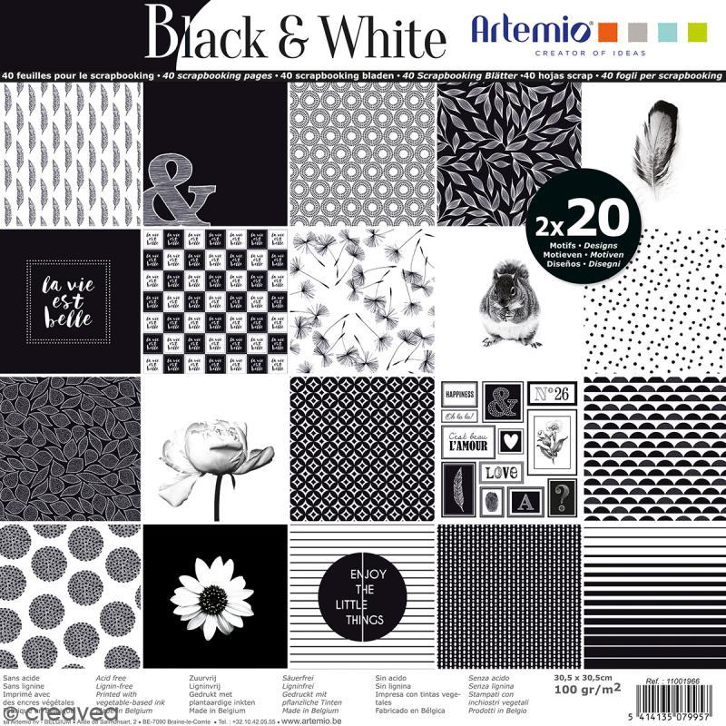 papier scrapbooking 30x30 noir et blanc