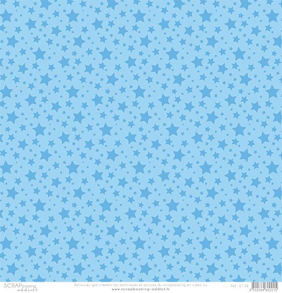 papier scrapbooking bleu etoile