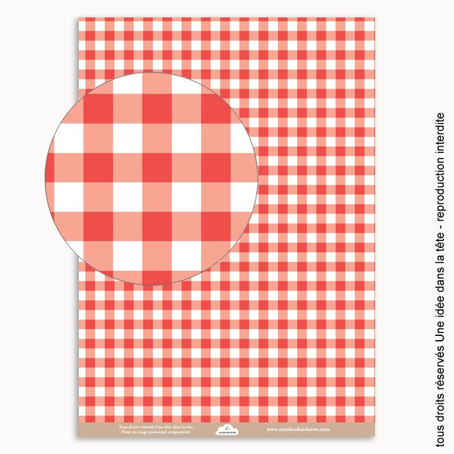 papier scrapbooking vichy rouge
